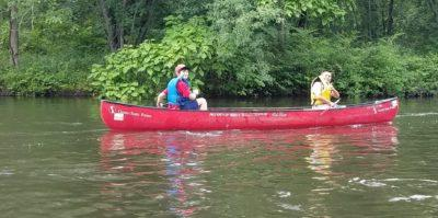 OCYL students canoeing on the Blackstone River